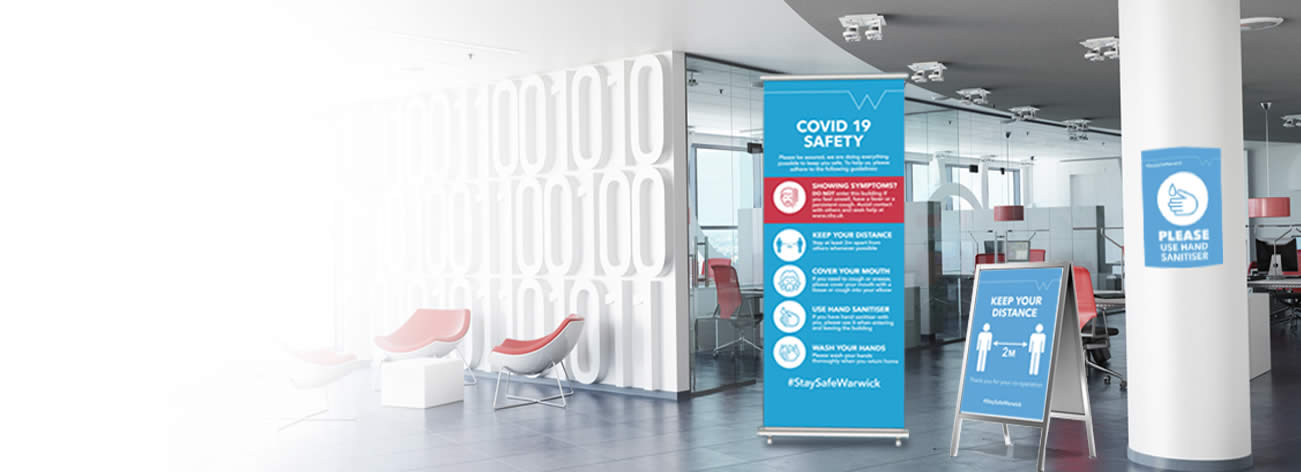 Warwick Print offer COVID-19 signage, including poaters and exhibition stands.