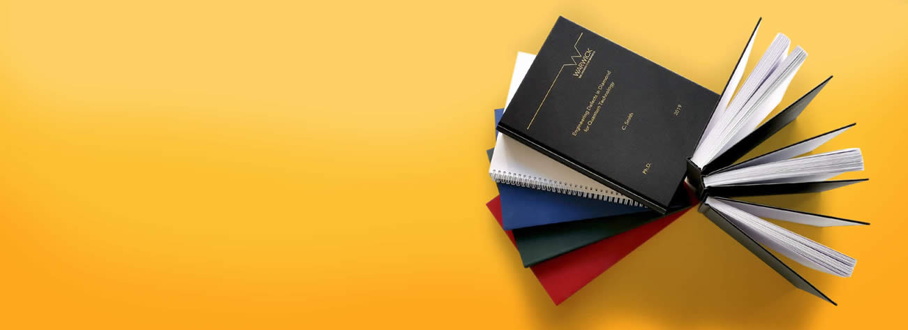 Warwick Print offers a binding for dissertation and thesis - wiro bind, soft bind, perfect bind, hard cover bind.